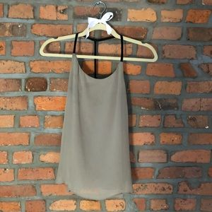 Alice and Olivia Grey Leather Tank Top